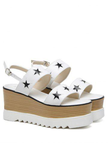 Star Pattern Platform Sandals - White - 38