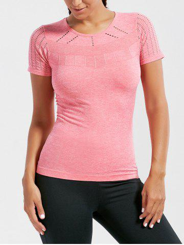 Trendy Marled Breathable Ripped Workout T-shirt DEEP PINK L
