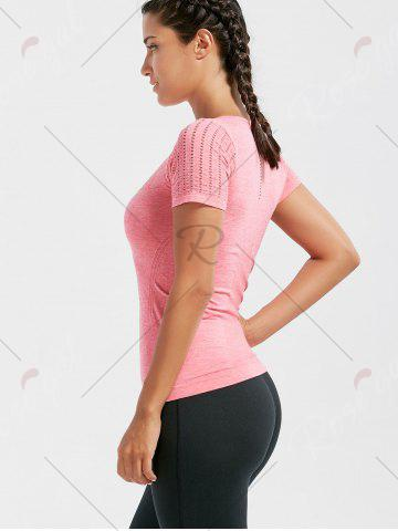 Affordable Marled Breathable Ripped Workout T-shirt - M DEEP PINK Mobile