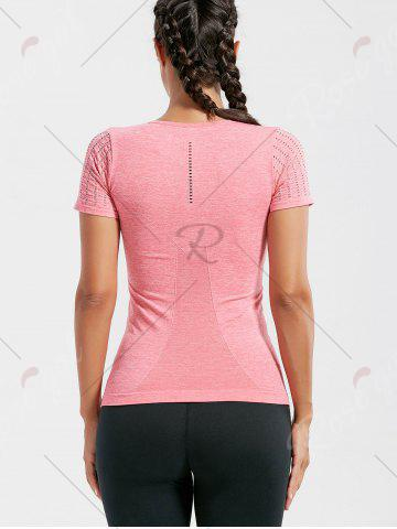 Fancy Marled Breathable Ripped Workout T-shirt - M DEEP PINK Mobile