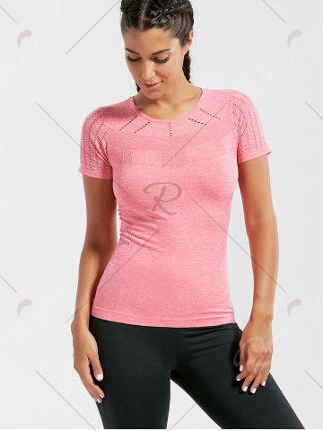 Unique Marled Breathable Ripped Workout T-shirt - M DEEP PINK Mobile