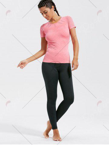 Store Marled Breathable Ripped Workout T-shirt - M DEEP PINK Mobile