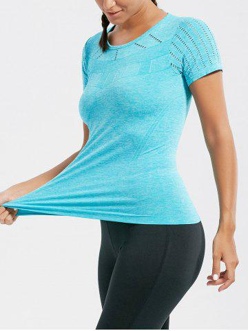 Online Marled Breathable Ripped Workout T-shirt LAKE BLUE L