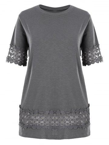 Hot Plus Size Lace Crochet Panel Basic T-shirt