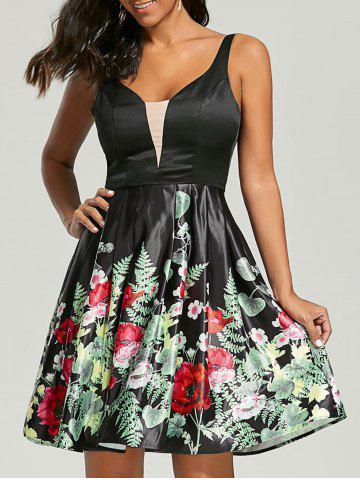 Unique Sleeveless Floral Fit and Flare Dress BLACK M