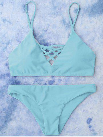 Lace Up Cami Bikini Swimwear - Light Blue - S