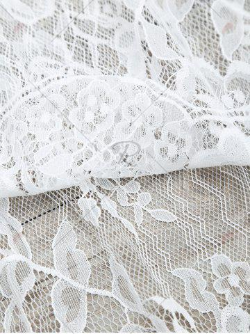 Shop See-Through Lace Cover Up Tank Top - S WHITE Mobile