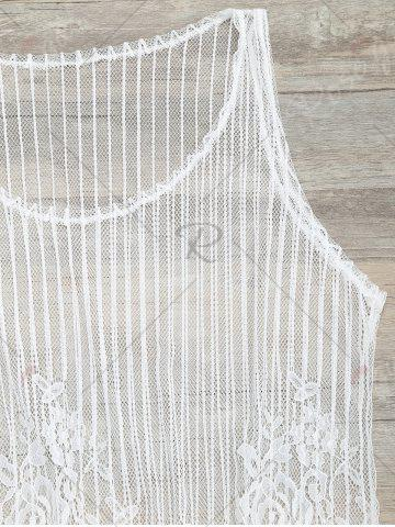 Affordable See-Through Lace Cover Up Tank Top - S WHITE Mobile