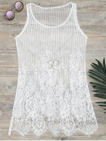 Online See-Through Lace Cover Up Tank Top - S WHITE Mobile