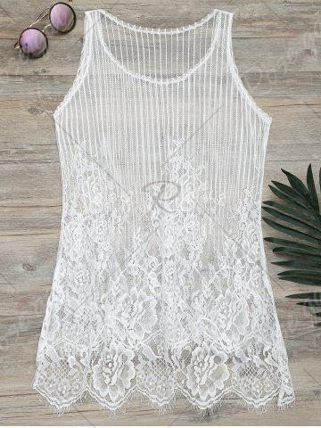 Discount See-Through Lace Cover Up Tank Top - S WHITE Mobile