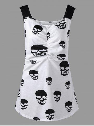 Fancy Skull Print Ruched Plus Size Tank Top WHITE XL
