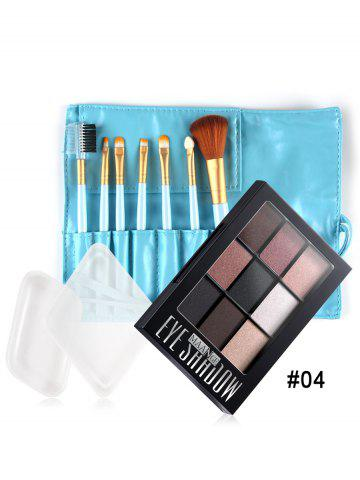Makeup Brushes Silicone Sponges Eyeshadow Palette Set - #04