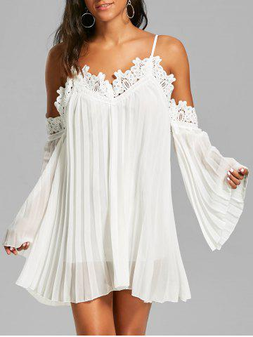Chiffon Lace Panel Pleated Flowy Mini Slip Dress - White - S