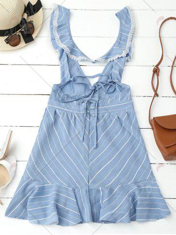 Online Plunging Neck Striped Backless Flounce Dress - S BLUE Mobile