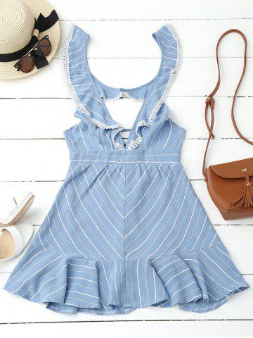 Discount Plunging Neck Striped Backless Flounce Dress BLUE L
