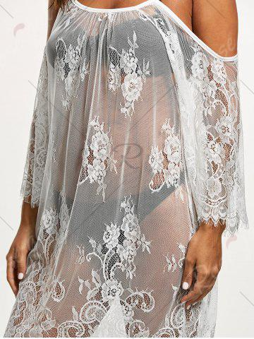 Sale Cold Shoulder Sheer Lace Cover Up Dress - S WHITE Mobile