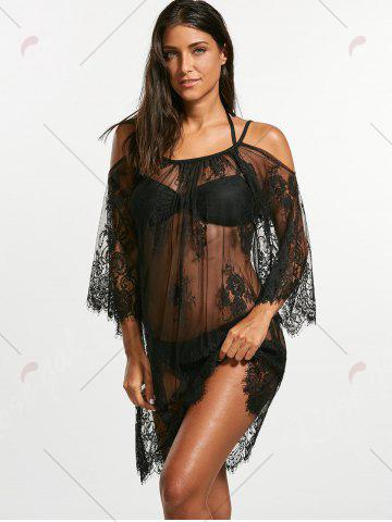 Trendy Cold Shoulder Sheer Lace Cover Up Dress - XL BLACK Mobile