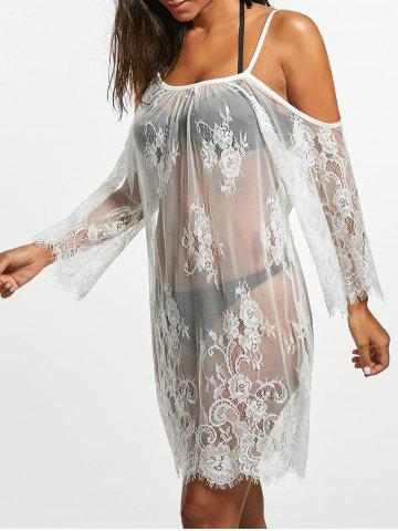 Outfits Cold Shoulder Sheer Lace Cover Up Dress