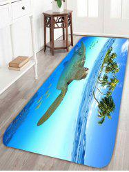 Tortoise Fish Palm Printed Skidproof Rug - BLUE