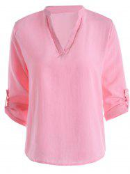 Long Sleeve Notcked Collar Blouse
