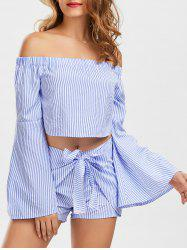 Bell Sleeve Off The Shoulder Top and Striped Shorts