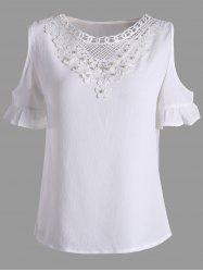 Lace Insert Beaded Cold Shoulder Blouse