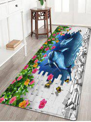 3D Dolphine Wall Pattern Water Absorption Anti-skid Area Rug