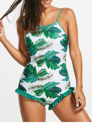 One Piece Tropical Open Back Printed Swimsuit