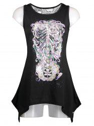 Floral Skeleton Printing Lace Back Tank Top