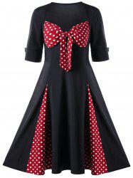 Sweetheart Neck Polka Dot 1950s Swing Dress