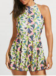 One Piece High Neck Floral Skirted Swimsuit