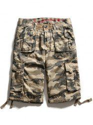 Multi Pockets Zip Fly Camo Cargo Shorts