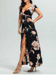 Floral High Split Surplice Maxi Dress - BLACK