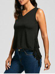 V Neck Fringe High Low Top