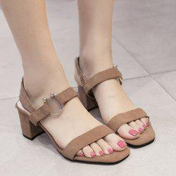 Block Heel Metal Ring Sandals