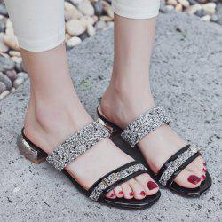 Sequins Buckle Strap Slippers