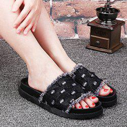 Denim Platform Slippers - BLACK