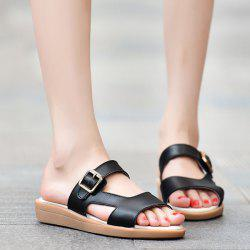 Flat Heel Belt Buckle Slippers - BLACK