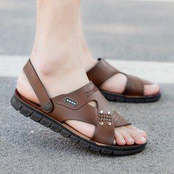 Faux Leather Stitching Sandals