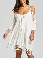 Lace Trim Fringe Cold Shoulder Mini Dress - Blanc