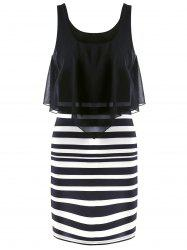 Chiffon Flounce Stripe Sleeveless Bodycon Dress