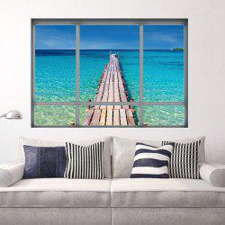Beach View Window Wall Sticker For Living Room - BLUE