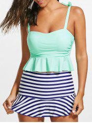 Striped Skirted Peplum Underwire Tankini Set