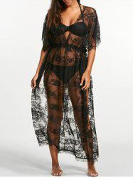 Sheer Lace Maxi Cover Up Dress for Beach - BLACK