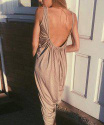 U Neck Sleeveless Open Back Club Loose-Fitting Dress - KHAKI