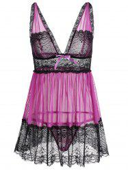 Lingerie Plunge Lace Panel Slip Babydoll Dress