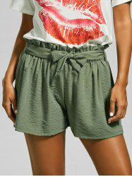 Elastic Waist Mini Summer Shorts with Belt - GREEN