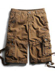 Courroies embouties Zip Fly Cargo Shorts - Café