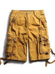 Straps Embellished Zip Fly Cargo Shorts