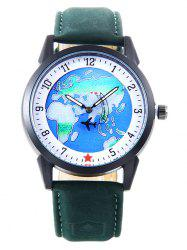 Faux Leather Strap World Map Number Watch